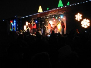 Holiday Train 2011 with band performing.