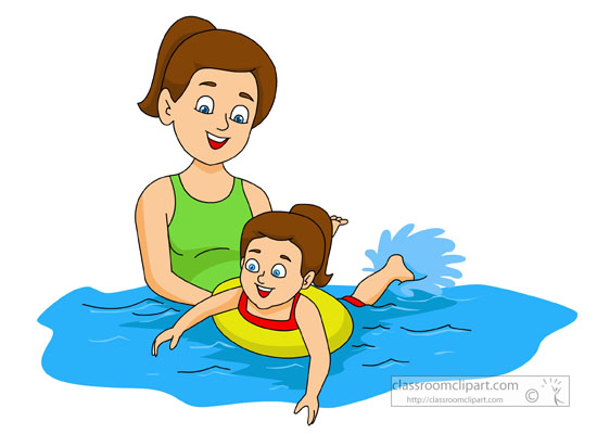 swimming instructer teaching young child to swim clipart